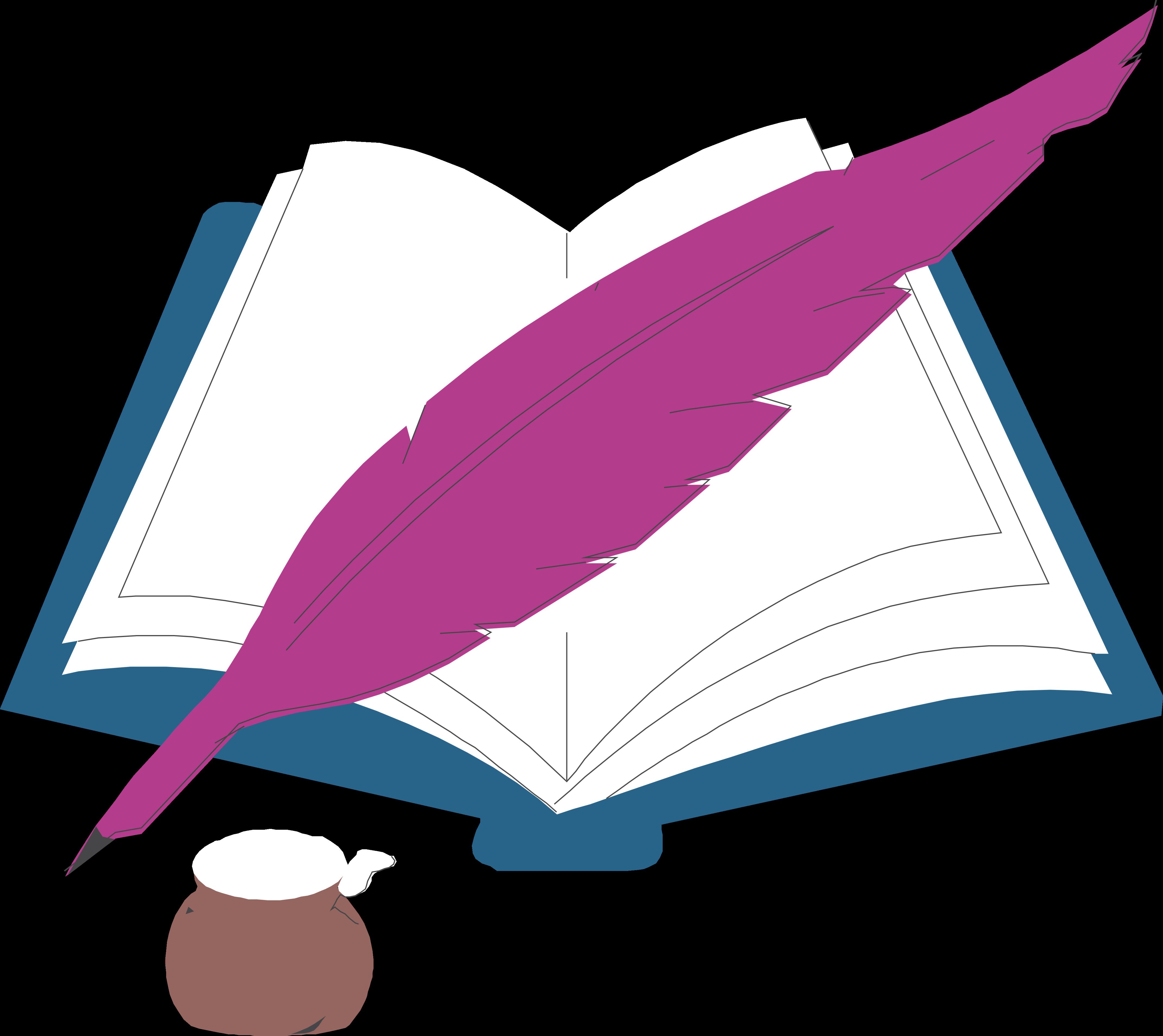 Картинка книга и перо для детей